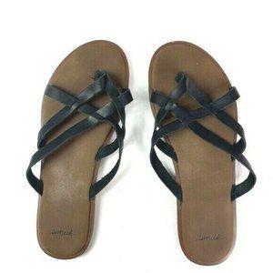 Sanuk Yoga Strappy Sandals black slip on women's 8